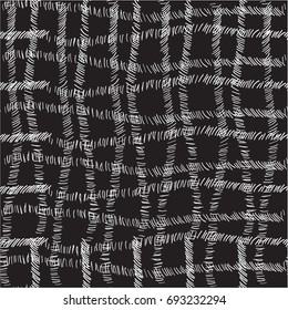 Intersecting lines of dashes that form a cage, cell on black  background.Freehand drawing vector design. Black and white pattern, modern stylish texture. Monochrome  graphic design.
