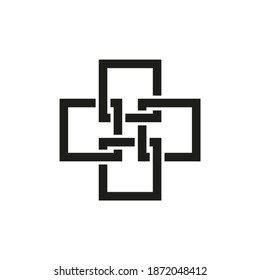 Сross of intersecting squares. The symbol for a medical facility. For a logo or icon. Vector isolated on a white background.