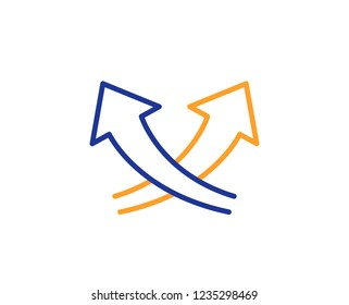 Intersection arrows line icon. Exchange and turn, cross sign. Colorful outline concept. Blue and orange thin line color icon. Intersection arrows Vector