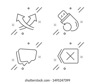 Intersection arrows, Speech bubble and Flash memory line icons set. Remove sign. Exchange, Chat message, Recovery usb. Delete button. Technology set. Line intersection arrows outline icon. Vector