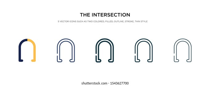 the intersection of icon in different style vector illustration. two colored and black the intersection of vector icons designed in filled, outline, line and stroke style can be used for web,