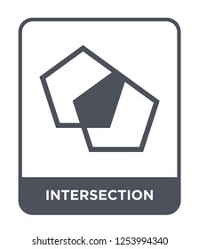 intersection icon vector on white background, intersection trendy filled icons from Geometric figure collection, intersection simple element illustration