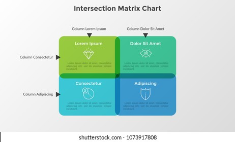 Intersection matrix chart. Four intersected translucent rounded rectangles with linear icons and place for text inside. Concept of data organization. Infographic design template. Vector illustration.