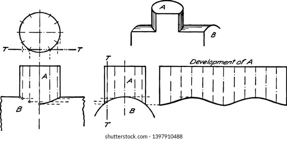 Intersection of Two Cylinders might represent a dome on a boiler intersecting at right angles better idea of the actual shape of this region vintage line drawing or engraving illustration.