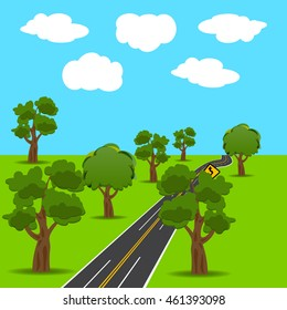 Intersections and branch roads in the animated style. Green trees. Landscape. Vector illustration