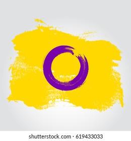 Intersex pride flag in a form of brush stroke. Brush stroke style. Vector EPS 10