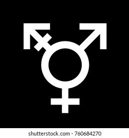 Intersex symbol - third other sex and gender. Person is ambiguous between male and female sexual identifiation. Absence of dual sexual identity. Pictogram and sign as vector illustration