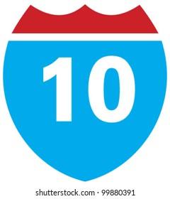 Interstate 10 highway sign
