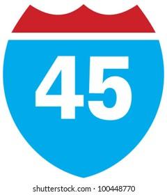 Interstate 45 highway sign
