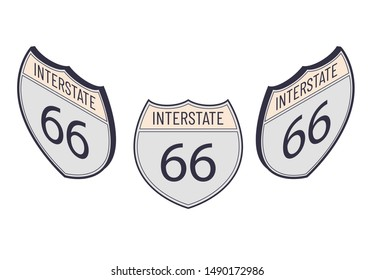 Interstate 66. American Isometric highway map sign. Vector outline shield template. Military and heraldic simple shape shield.