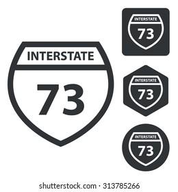 Interstate 73 icon set, monochrome, isolated on white