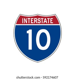 Interstate highway 10 road sign