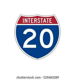 Interstate highway 20 road sign