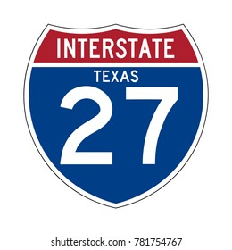 Interstate highway 27 texas road sign