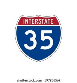 Interstate highway 35 road sign