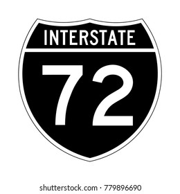 Interstate highway 72 road sign, a black version of a sign