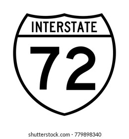 Interstate highway 72 road sign, a white version of a sign