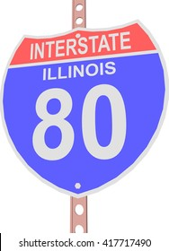 Interstate highway 80 road sign in Illinois