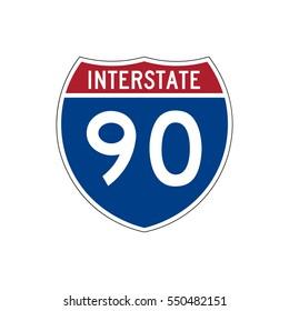 Interstate highway 90 road sign