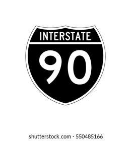 Interstate highway 90 road sign, in black