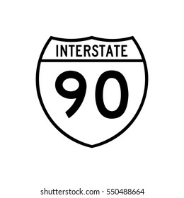 Interstate highway 90 road sign, in white
