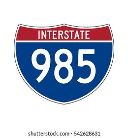 Interstate highway 985 road sign