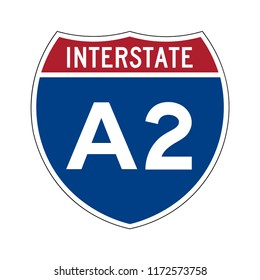 Interstate highway A2 in Alaska road sign