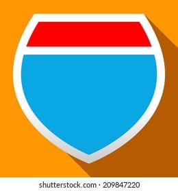 Interstate highway icon sign. Flat illustration of interstate highway vector icon for web. Road trip shield sign or symbol