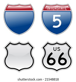 Interstate and US Route 66 signs with glossy effect