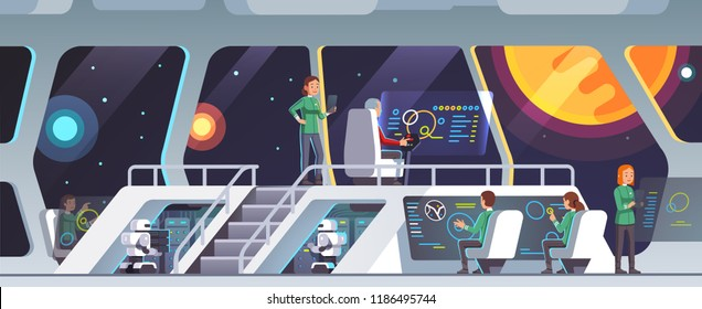 Interstellar spaceship main bridge interior with captain, chief officer and crew working. Inside science fiction intergalactic pioneers ship deck. Space travelers on mission. Flat vector illustration