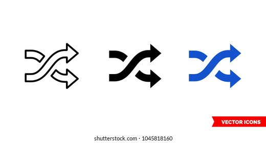 Intertwined arrows icon of 3 types: color, black and white, outline. Isolated vector sign symbol