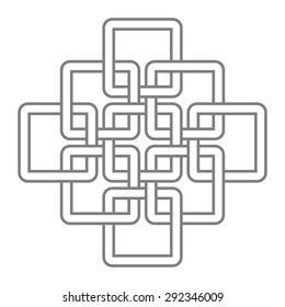 Intertwined squares, knotted squares vector