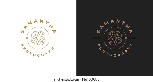 Intertwined wedding rings logo template linear vector illustration. Engagement rings emblem design for wedding planner logotype or photographer brand line art style.