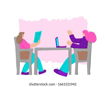 Interview concept. Female persons sitting in the chair and talking about stratagy. Attractive  women having a couch session. Mentor and student. Vector flat illustration.