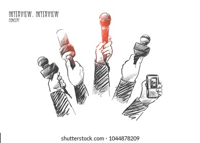 Interview concept. Hand drawn mother hands of reporters with a lot of microphones. Journalism and broadcasting concept isolated vector illustration.