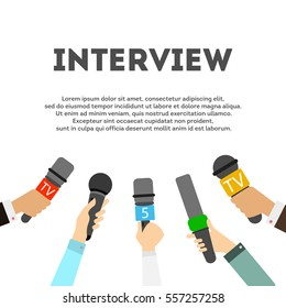 Interview concept with microphones on white background. Newsmakers and interviewers. Different tv signs. Hands holding devices.