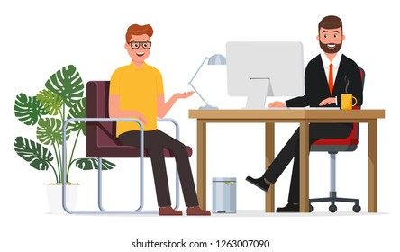 The interview of the employee and the employer.