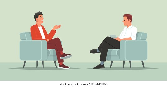 Interview with a famous person. Television or internet broadcast where a journalist talks to a celebrity. Vector illustration in flat style - Shutterstock ID 1805441860