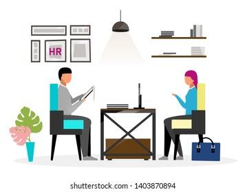 Interview at HR office flat vector illustration. Human resources expert speaking with female candidate, applicant for vacancy. Jobseeker talking to headhunter about employment cartoon character