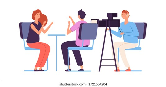 Interview. Live stream, tv show camera crew. Journalist talking to guest. Broadcaster news, vlogging vector illustration