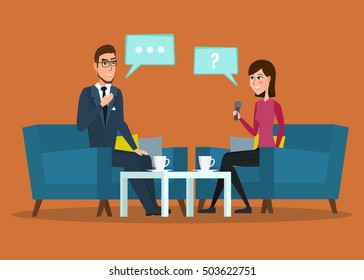 Interview with movie star. Interviews with politicians. Vector creative color illustrations flat design in flat modern style. cartoon Live interview