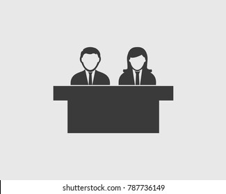 Interview Panel Icon with desk on gray background.