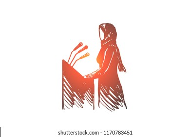 Interview, politics, hijab, woman, speaker, Arab concept. Hand drawn muslim woman on presentation concept sketch. Isolated vector illustration