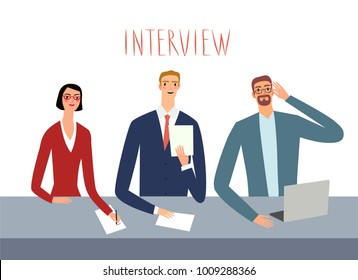 Interviewers at work looking serious. Set of different people. Illustration about job for your design.
