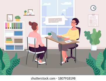 Interviewing session flat color vector illustration. Admonitory talk. Job candidate interview. Vacancy in office. 2D cartoon faceless characters with study interior on background