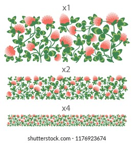 Interwoven stems of clover with leaves and flowers. Colored horizontal seamless vector ornament. Lane of one, two, four copies.