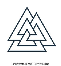 Interwoven triangles, valknut. Vector illustration. Flat icon. Logo, tattoo, amulet. Esotericism, the occult, sacred geometry.