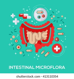 Intestinal microflora flat icons concept. Vector illustration. Intestine and bacterium, pills and tablet for proper digestion.
