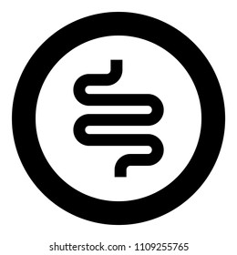 Intestine or bowels icon black color in circle round
