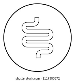 Intestine or bowels icon black color in circle round outline